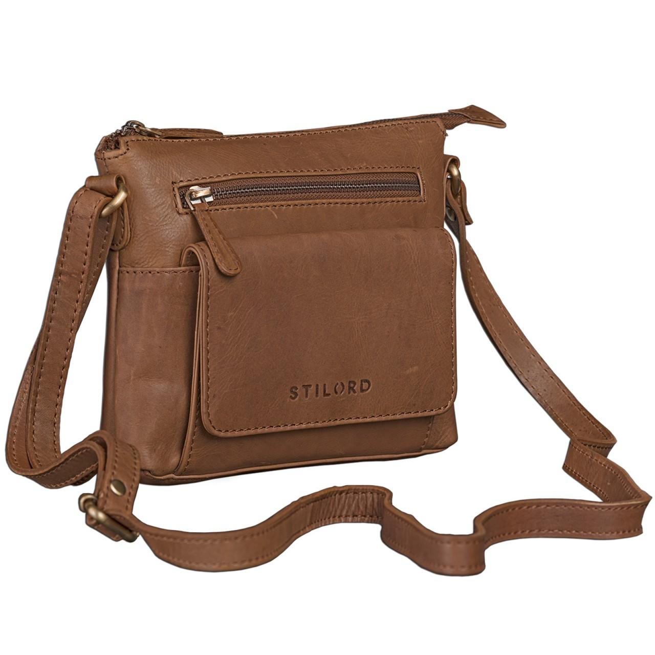 STILORD Vintage Umhängetasche klein Damen braun Schultertasche Handtasche Ausgehen Freizeit Abendtasche Büffel Leder cognac braun - Bild 1