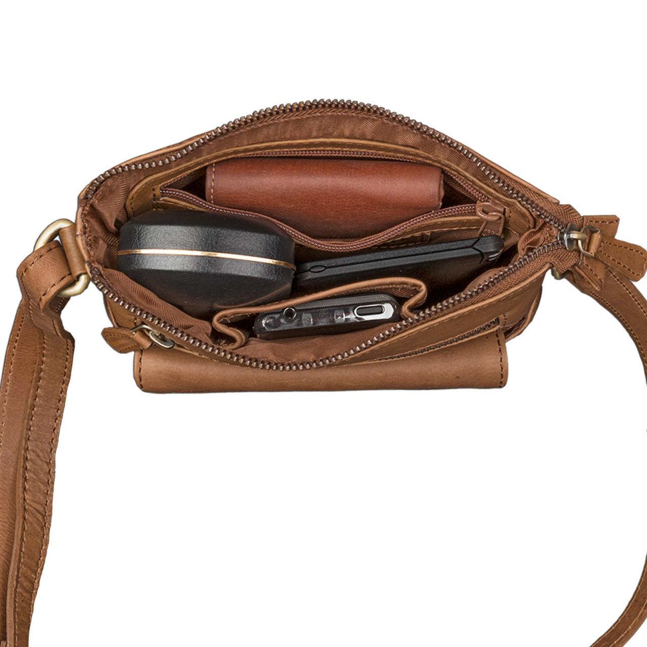STILORD Vintage Umhängetasche klein Damen braun Schultertasche Handtasche Ausgehen Freizeit Abendtasche Büffel Leder cognac braun - Bild 5