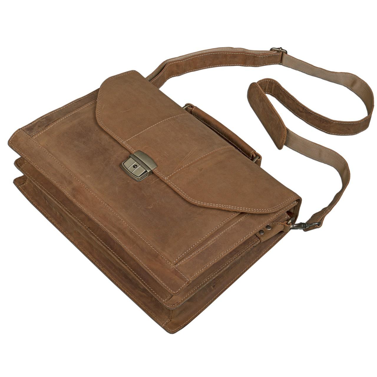 STILORD elegante Vintage Business Tasche Büro Freizeit Uni Studium aus echtem Leder mit Schloss und Tablet Fach Rinds Leder Braun - Bild 8