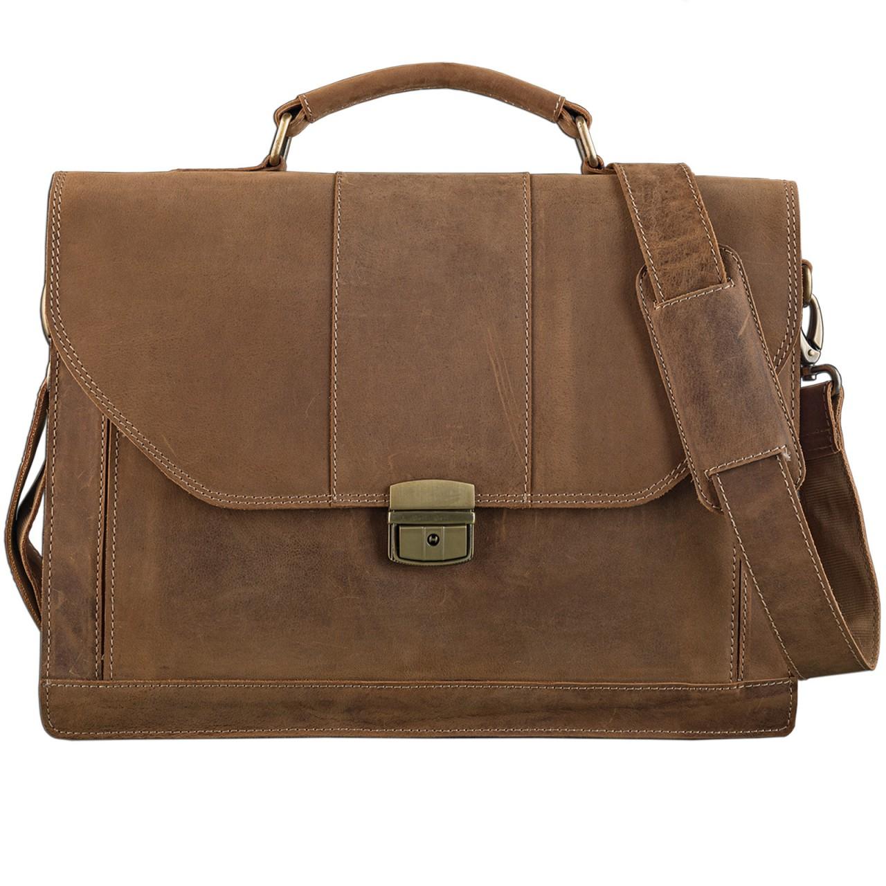 STILORD elegante Vintage Business Tasche Büro Freizeit Uni Studium aus echtem Leder mit Schloss und Tablet Fach Rinds Leder Braun - Bild 2