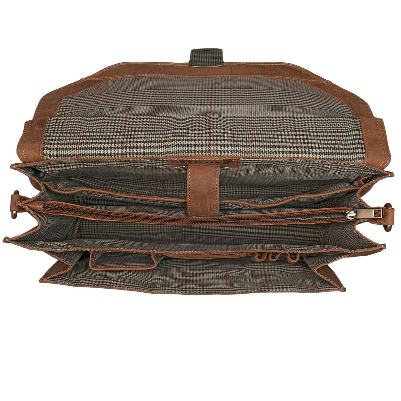 STILORD elegante Vintage Business Tasche Büro Freizeit Uni Studium aus echtem Leder mit Schloss und Tablet Fach Rinds Leder Braun - Bild 5