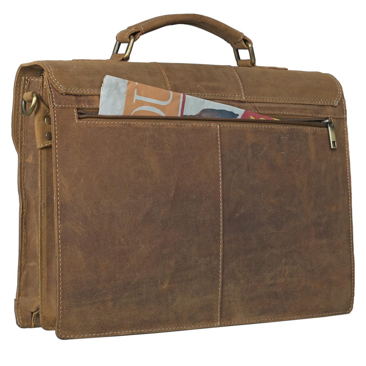 STILORD elegante Vintage Business Tasche Büro Freizeit Uni Studium aus echtem Leder mit Schloss und Tablet Fach Rinds Leder Braun - Bild 4