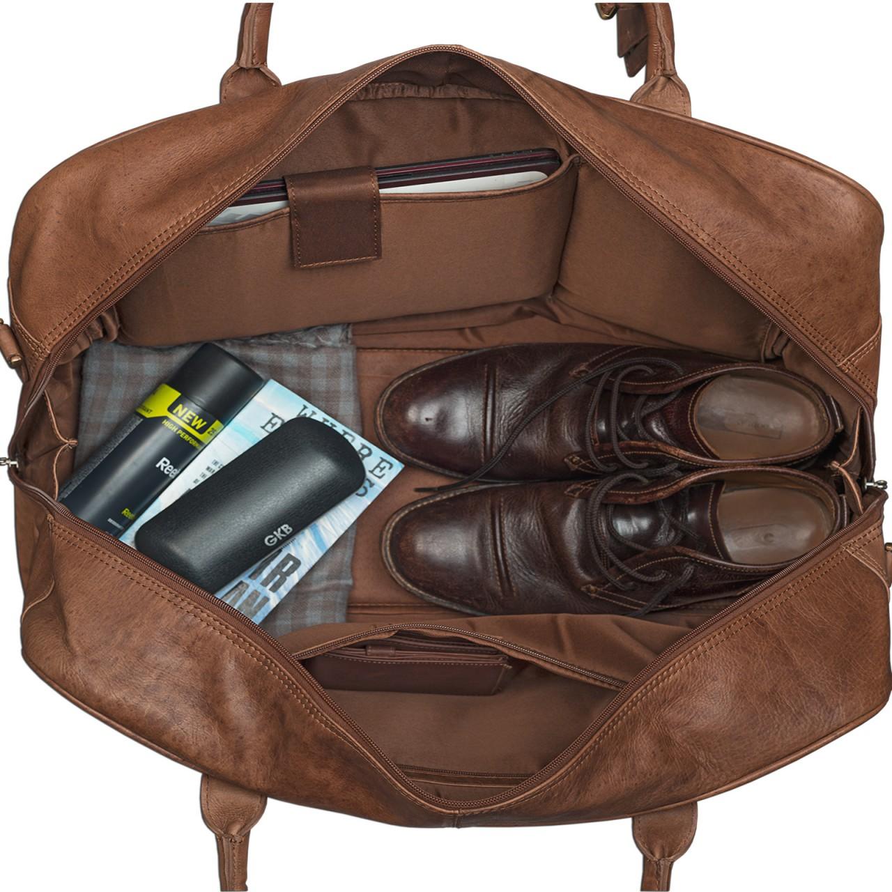 STILORD Reisetasche elegant und groß XXL Weekender Bag Sporttasche Freizeittasche Ledertasche echtes Büffel-Leder cognac braun - Bild 5