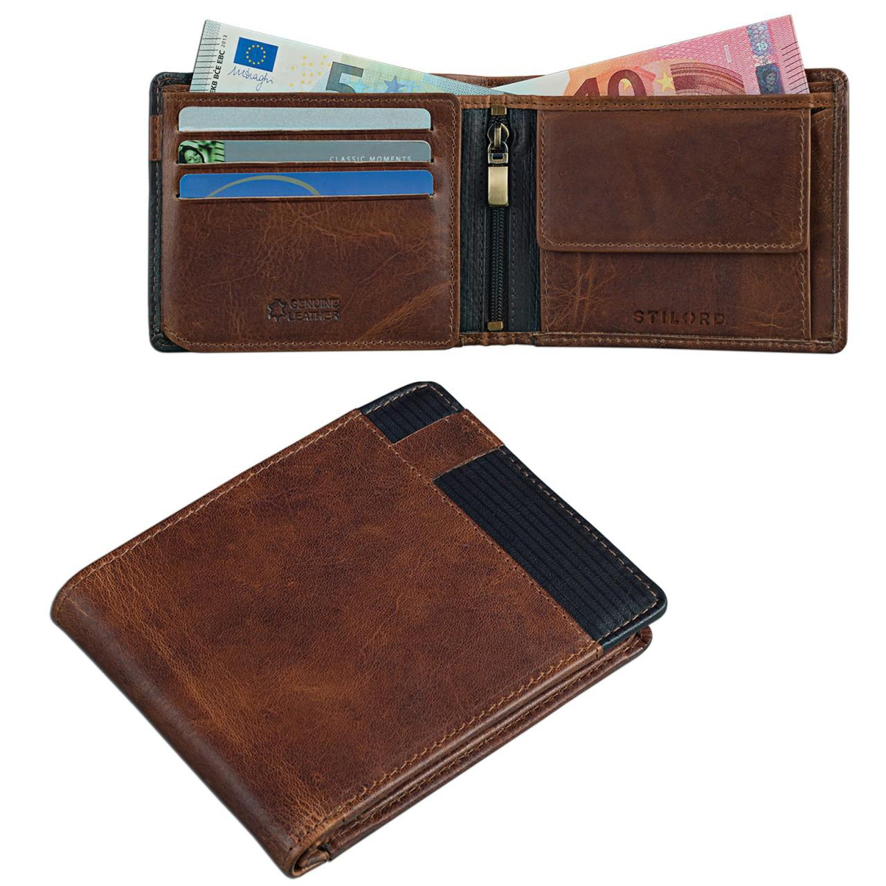 Portemonnaie echtes Rindsleder Retro Vintage für Herren