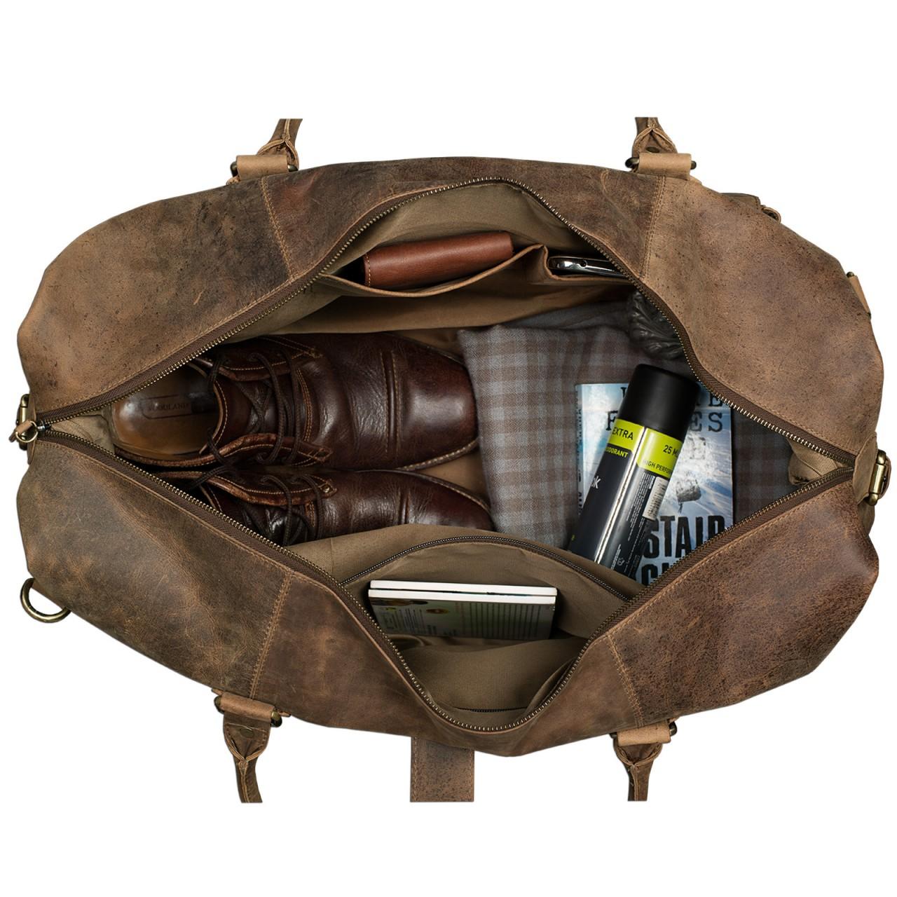 STILORD Vintage Reisetasche groß für Herren Ledertasche Urlaub Retro Sporttasche Weekender Bag aus echtem Leder braun - Bild 6