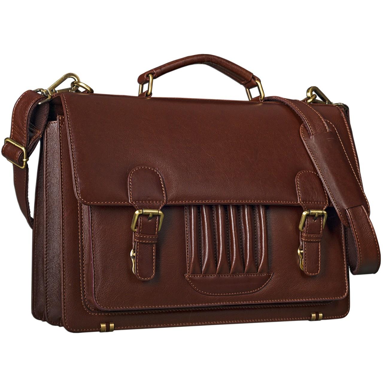 STILORD Vintage Businesstasche elegant Umhängetasche Handtasche Büro Lehrertasche aus echtem Rindsleder, rot-braun - Bild 1