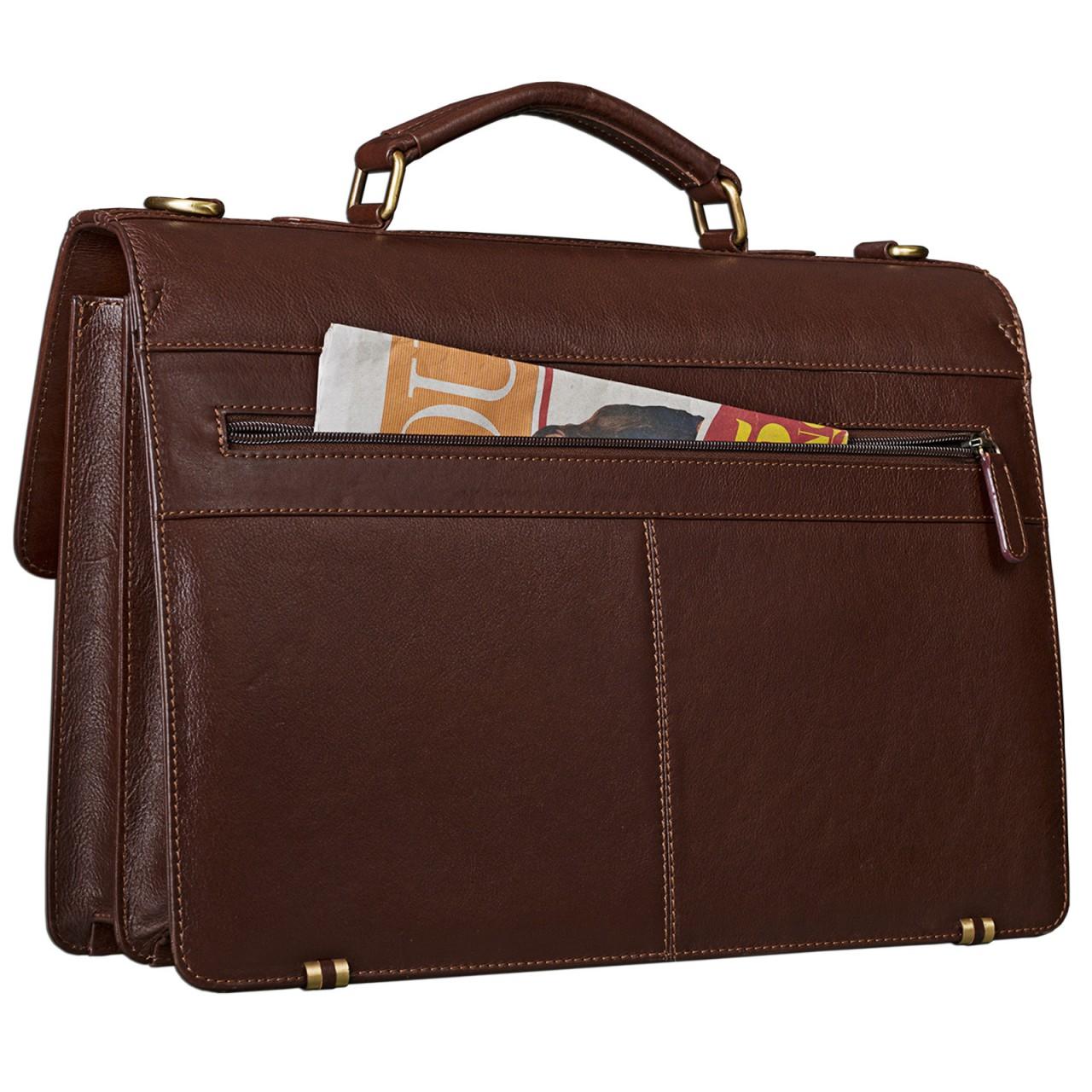 STILORD Vintage Businesstasche elegant Umhängetasche Handtasche Büro Lehrertasche aus echtem Rindsleder, rot-braun - Bild 6