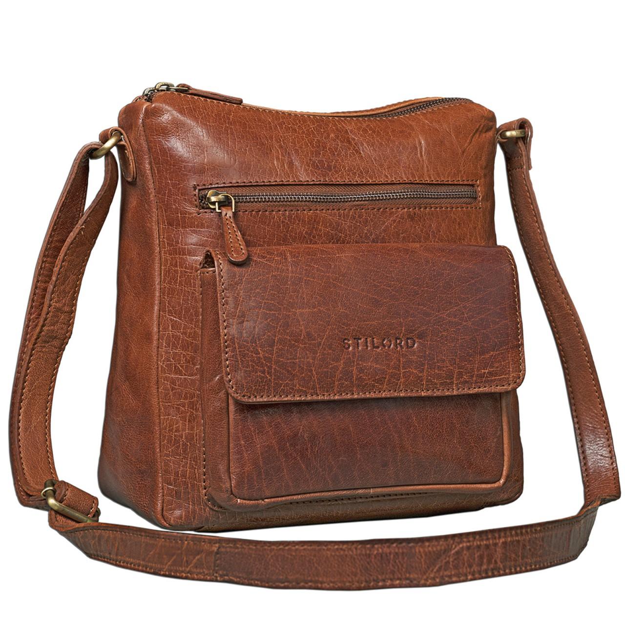 STILORD Vintage Umhängetasche für Damen Schultertasche Handtasche Ausgehen Freizeit Abendtasche Büffel Leder glänzend braun - Bild 1