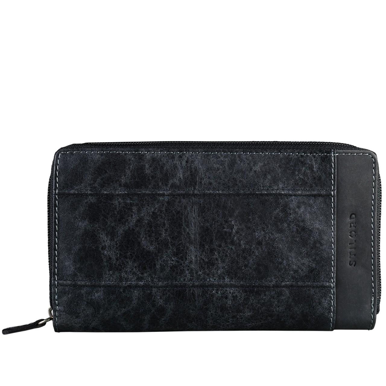 STILORD Damen Geldbörse elegant klassisch großes Portemonnaie EC  aus echtem Rindsleder Quer Reißverschluss Leder Schwarz - Bild 1