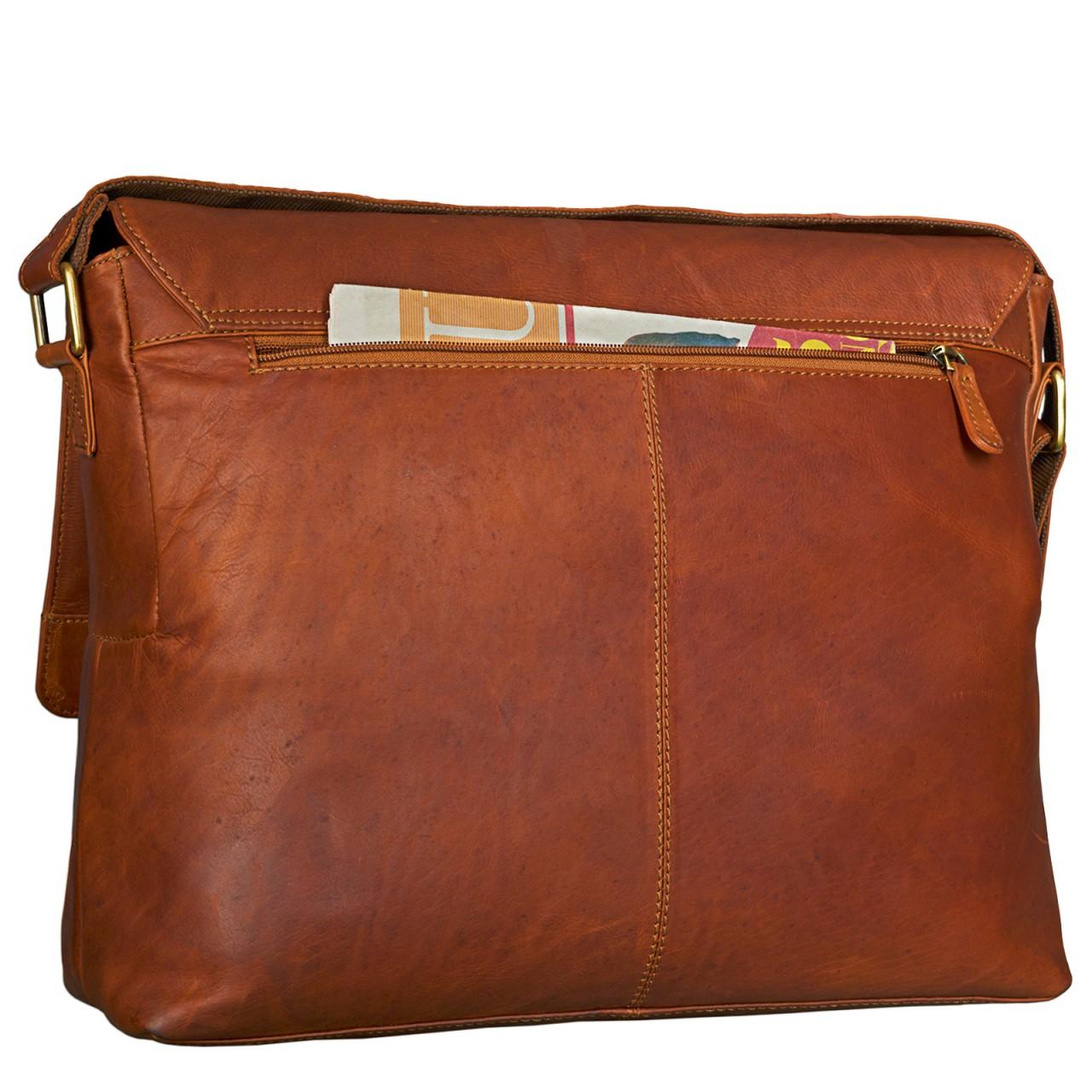 STILORD Messenger Bag Leder Herren Damen Arbeitstasche DIN A4 Dokumententasche Akten Büro Uni Freizeit für 15,6 Zoll Laptop Büffelleder Cognac - Bild 8