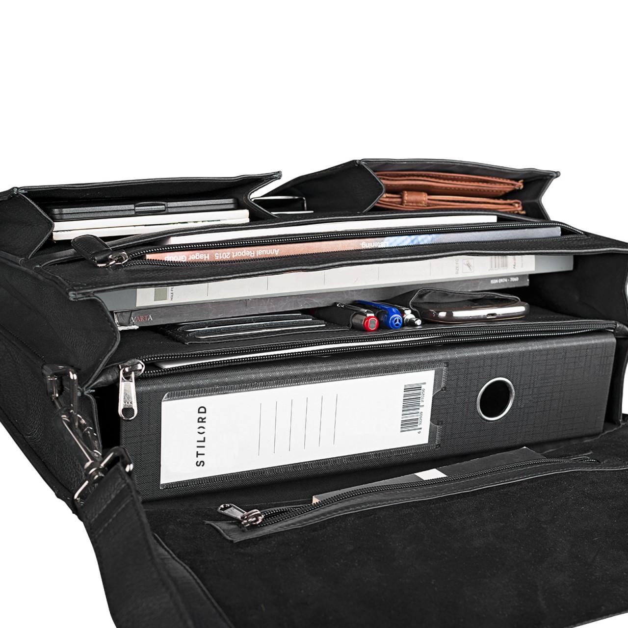 STILORD Aktentasche Leder Schwarz Businesstasche Dokumententasche Bürotasche klassisch elegant aufsteckbar echtes Rindsleder  - Bild 6