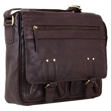 """STILORD """"Leonard"""" Vintage Umhängetasche Leder groß Herren und Damen Schultertasche für 13.3 Zoll MacBook ideal für Uni Arbeit echtes Büffelleder dunkel-braun"""