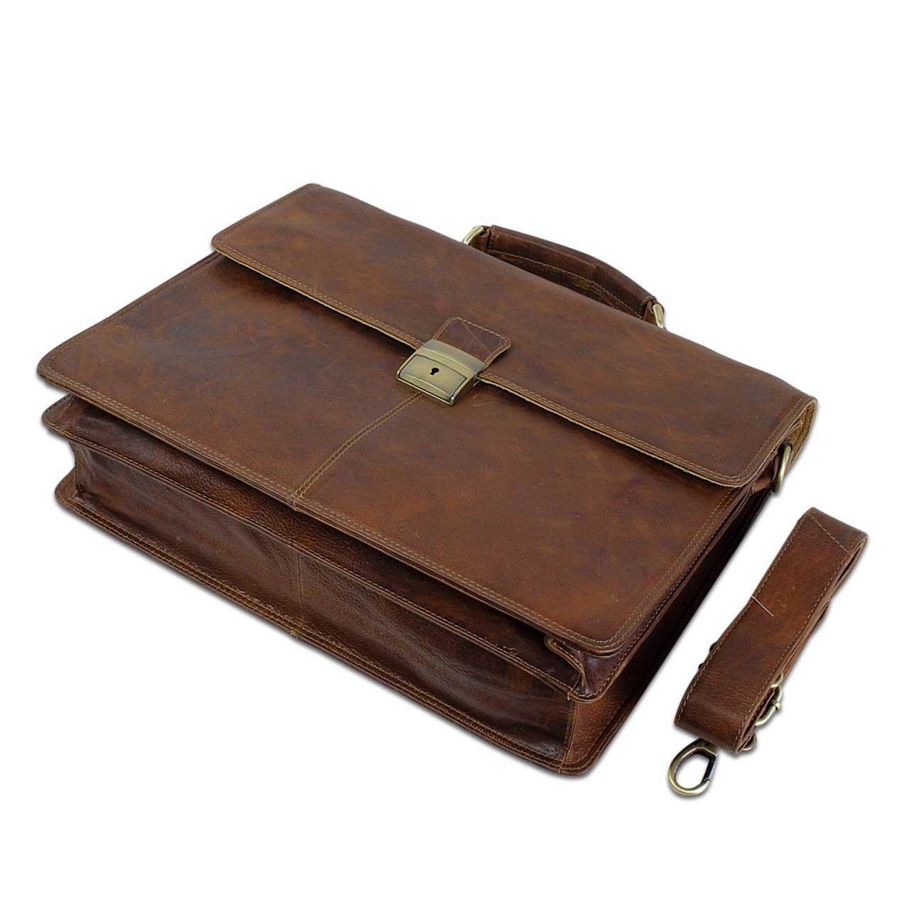 B-WARE Vintage Aktentasche Herren Büro Business Schultertasche Laptoptasche mit Schloss groß echtes Rinds-Leder braun - Bild 3