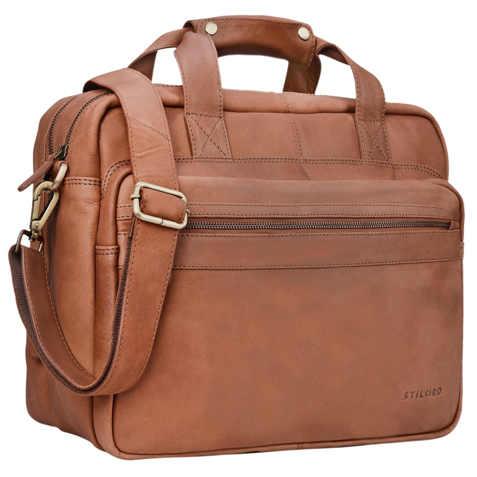 "STILORD ""Adventure"" Lehrertasche Herren Damen Aktentasche Office Büro Schulter- oder Umhängetasche Businesstasche für Laptop Leder  - Bild 10"