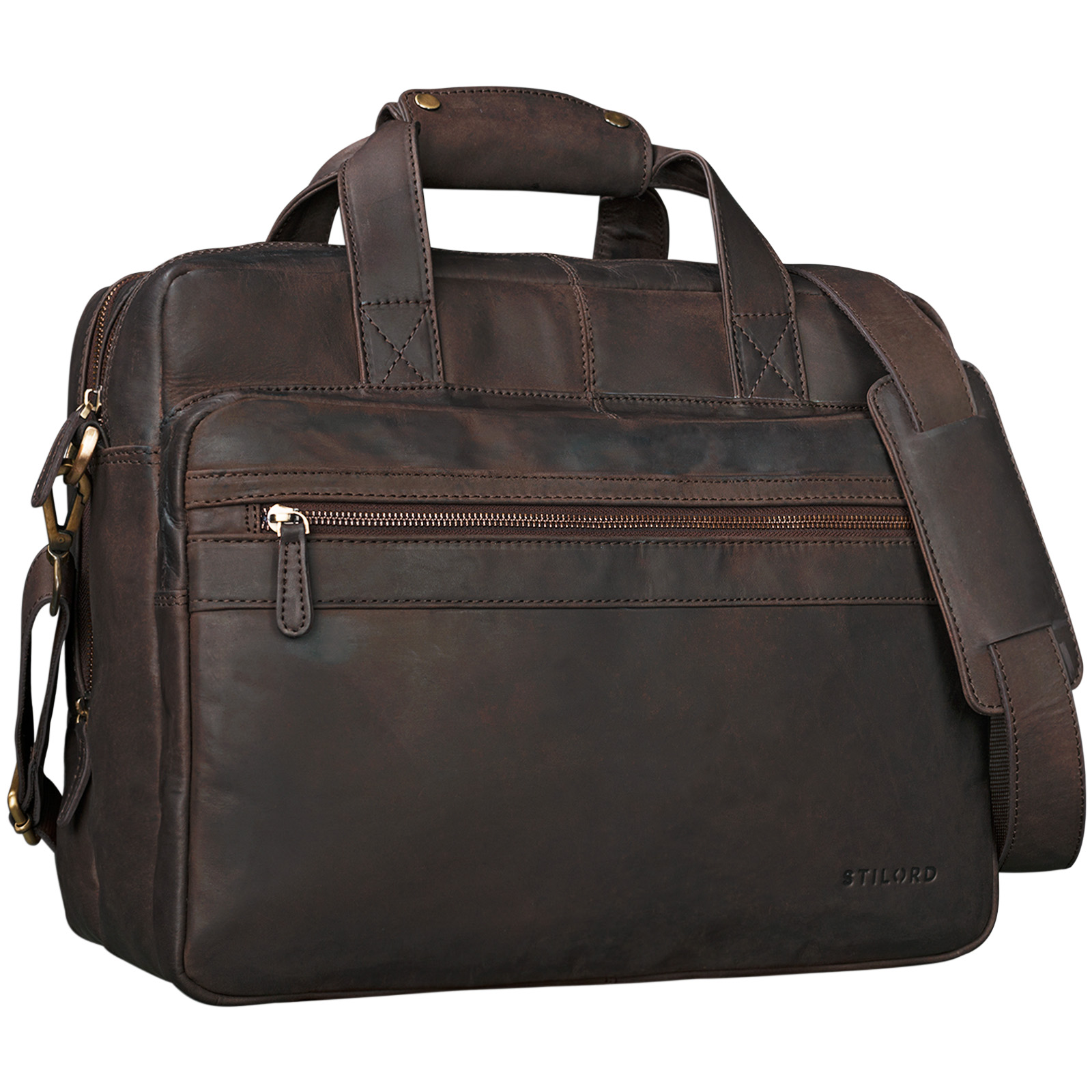 "STILORD ""Adventure"" Lehrertasche Herren Damen Aktentasche Office Büro Schulter- oder Umhängetasche Businesstasche für Laptop Leder  - Bild 6"