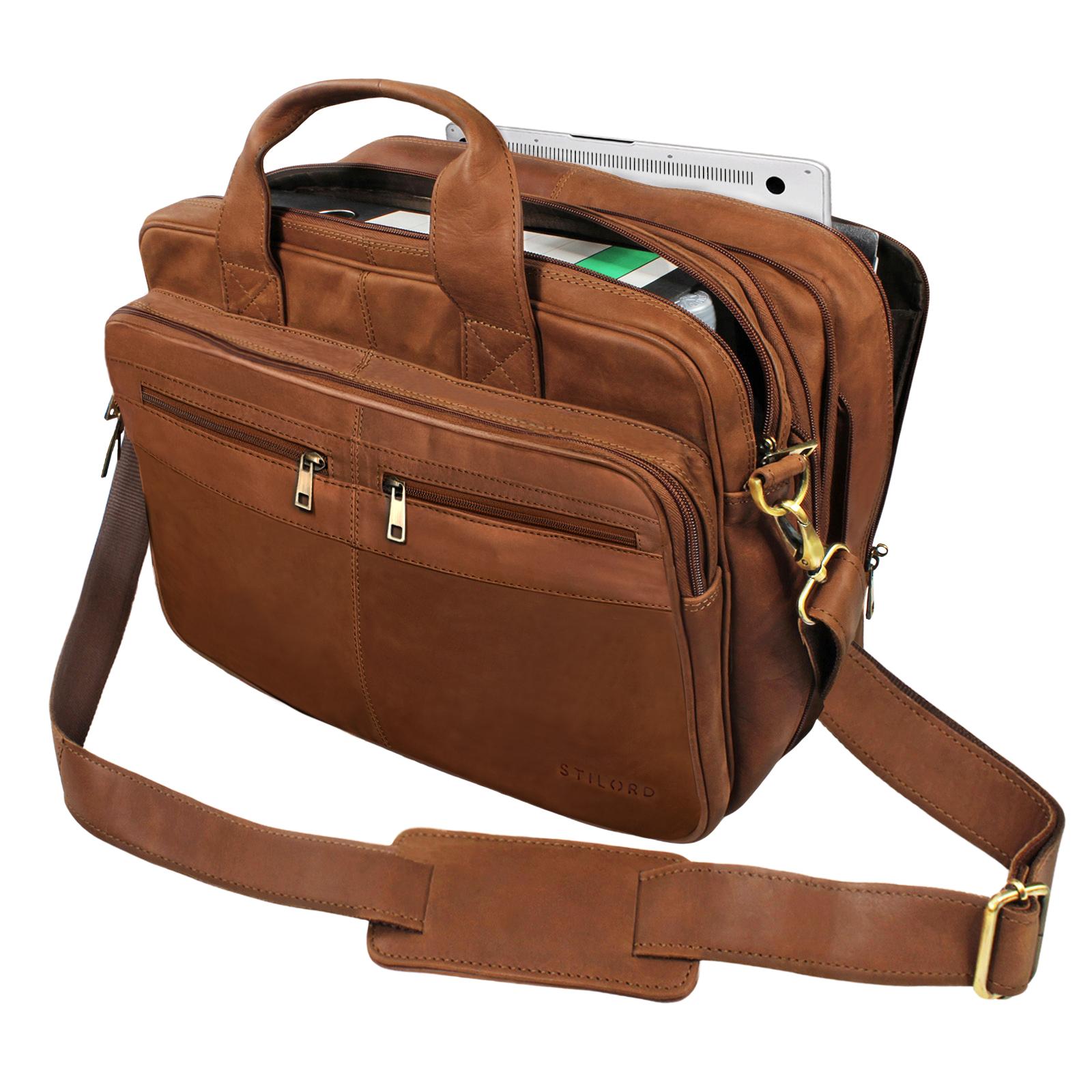 stilord alexander lehrertasche herren leder braun aktentasche laptoptasche b rotasche. Black Bedroom Furniture Sets. Home Design Ideas