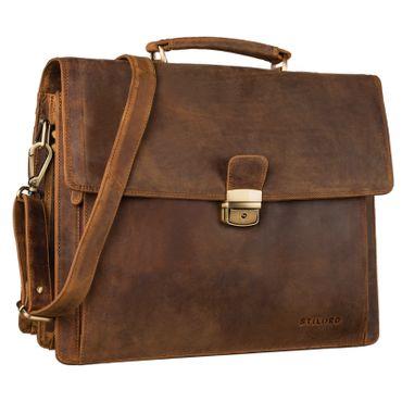"""STILORD """"Noel"""" Aktentasche Leder Herren Vintage groß klassische Arbeitstasche Bürotasche Umhängetasche Dokumententasche mit Laptopfach 13,3 Zoll und Trolleyschlaufe"""