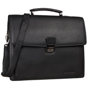 """STILORD """"Noel"""" Aktentasche Leder Herren Vintage groß klassische Arbeitstasche Bürotasche Umhängetasche Dokumententasche mit Laptopfach 13,3 Zoll und Trolleyschlaufe Farbe: schwarz"""