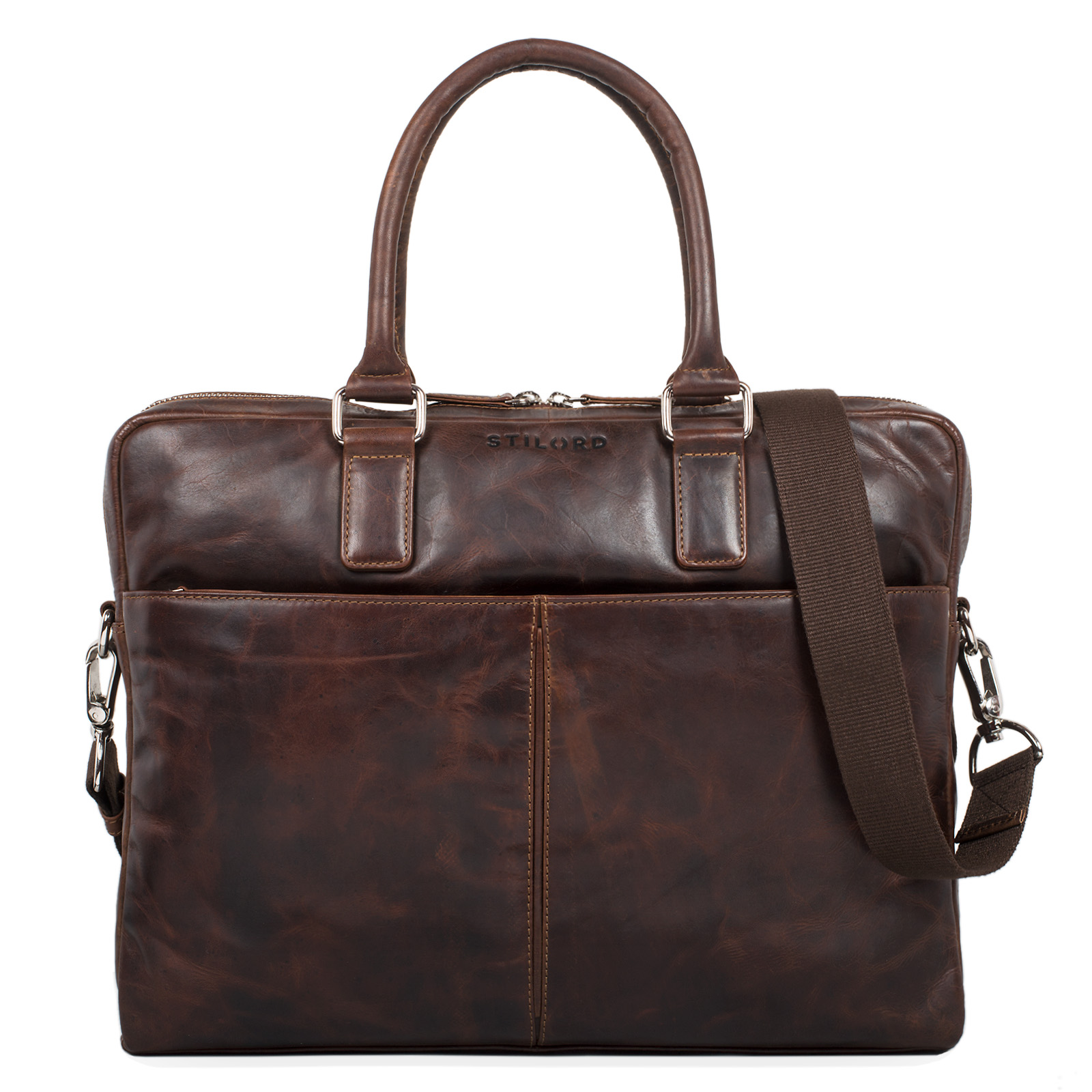 """STILORD """"Emilio"""" Umhängetasche Leder Vintage groß Schultertasche elegante Handtasche für Büro Business Arbeit Laptop 13.3 Zoll Aktentasche DIN A4 - Bild 15"""