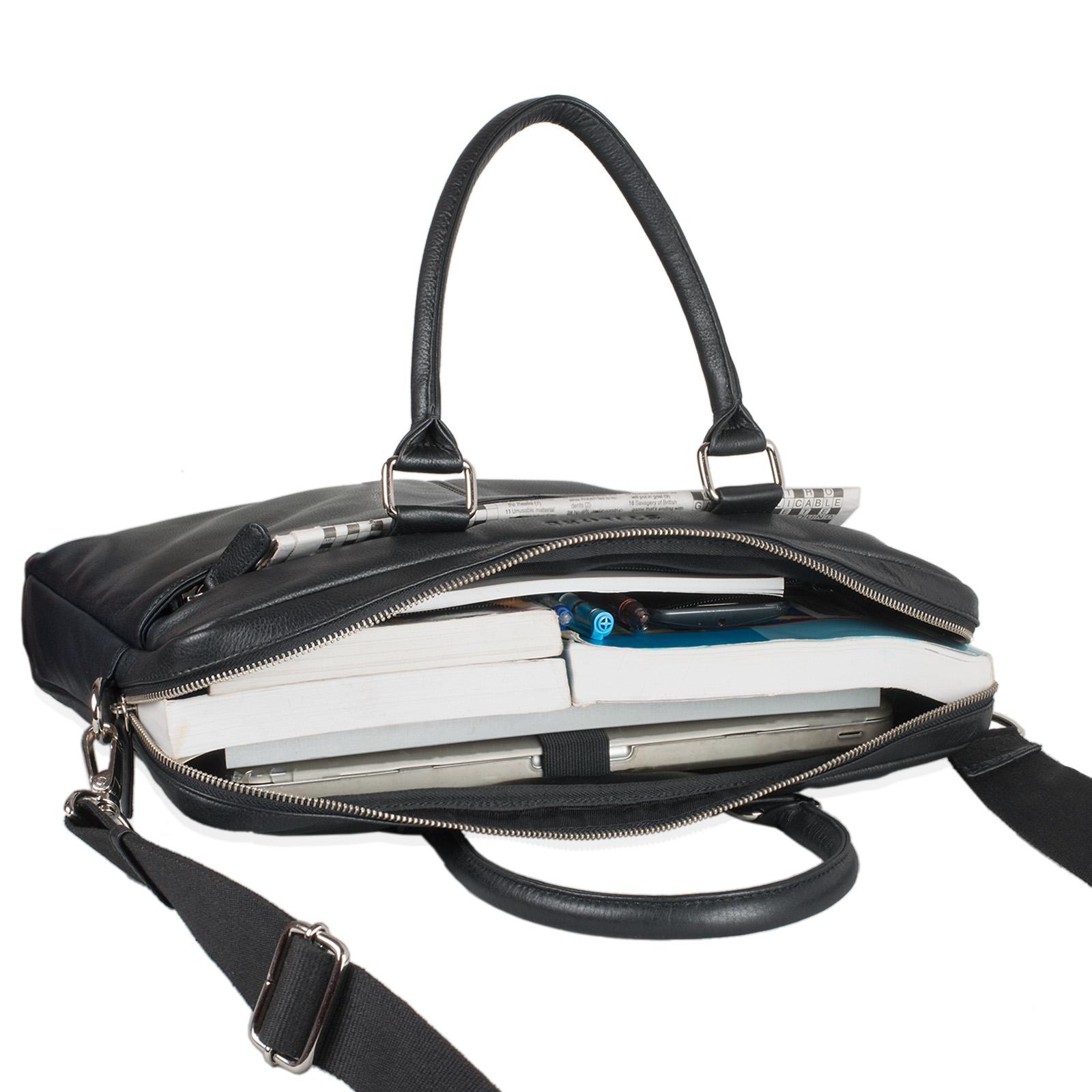 """STILORD """"Emilio"""" Umhängetasche Leder Vintage groß Schultertasche elegante Handtasche für Büro Business Arbeit Laptop 13.3 Zoll Aktentasche DIN A4 - Bild 11"""