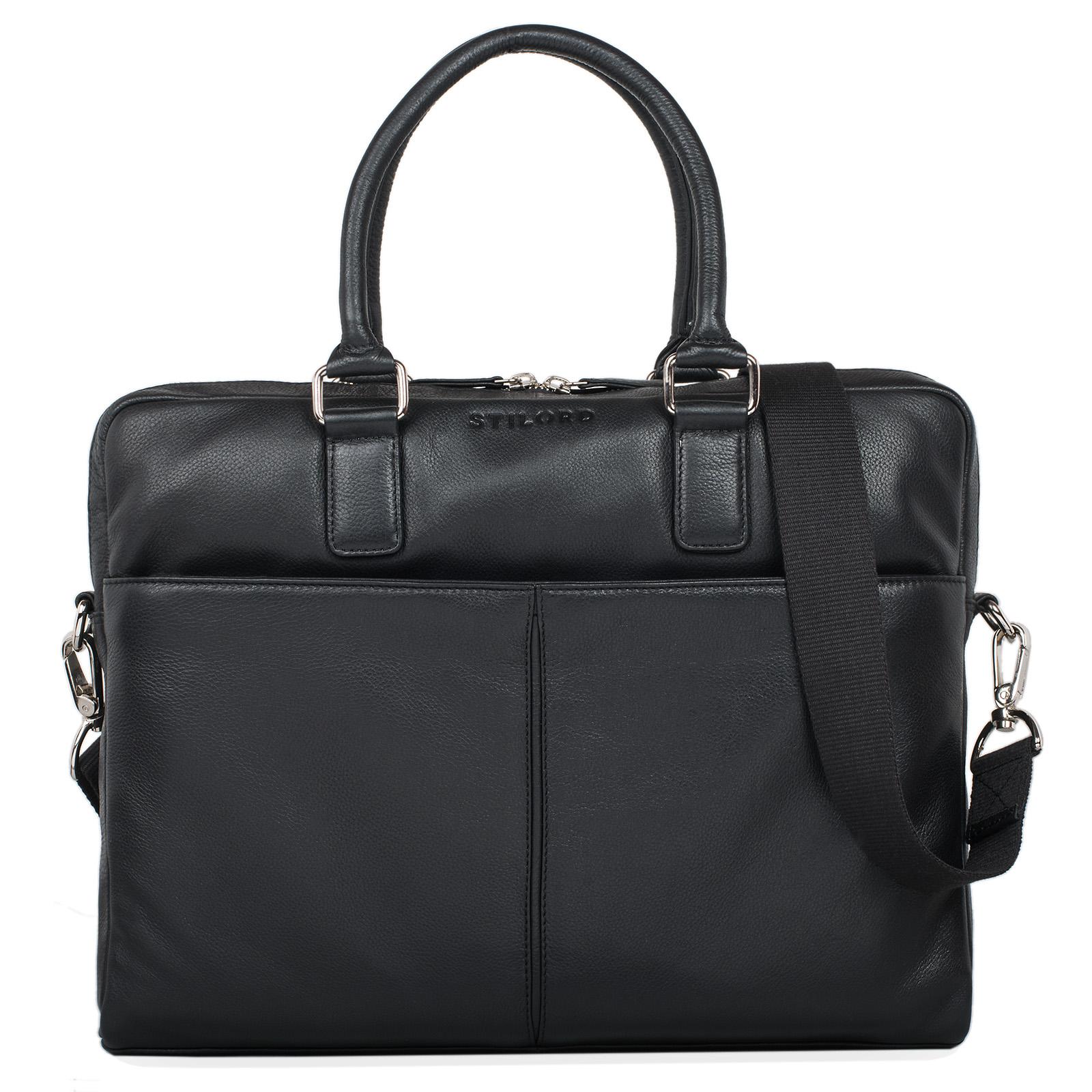 """STILORD """"Emilio"""" Umhängetasche Leder Vintage groß Schultertasche elegante Handtasche für Büro Business Arbeit Laptop 13.3 Zoll Aktentasche DIN A4 - Bild 8"""