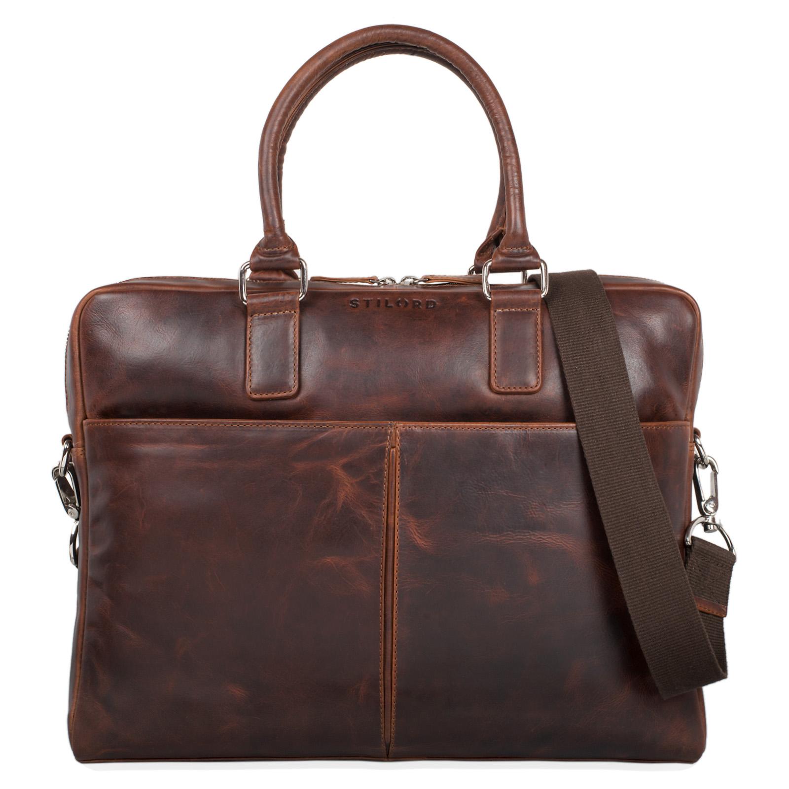 Vintage braune Herrentasche zum Umhängen Leder