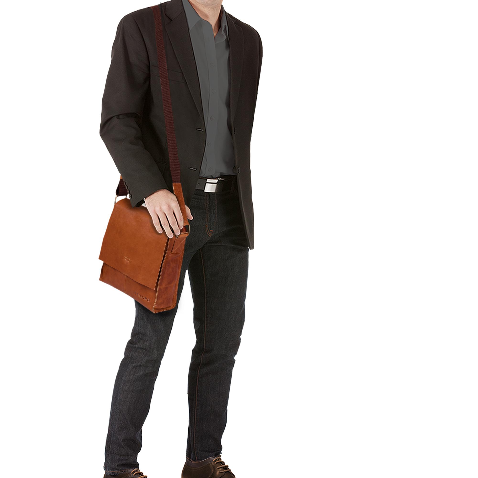 """STILORD """"Malte"""" Kleine Messenger Bag Leder Herren Vintage Schultertasche Umhängetasche für 9.7 Zoll Tablet iPad Handtasche A5 echtes Rindsleder - Bild 10"""