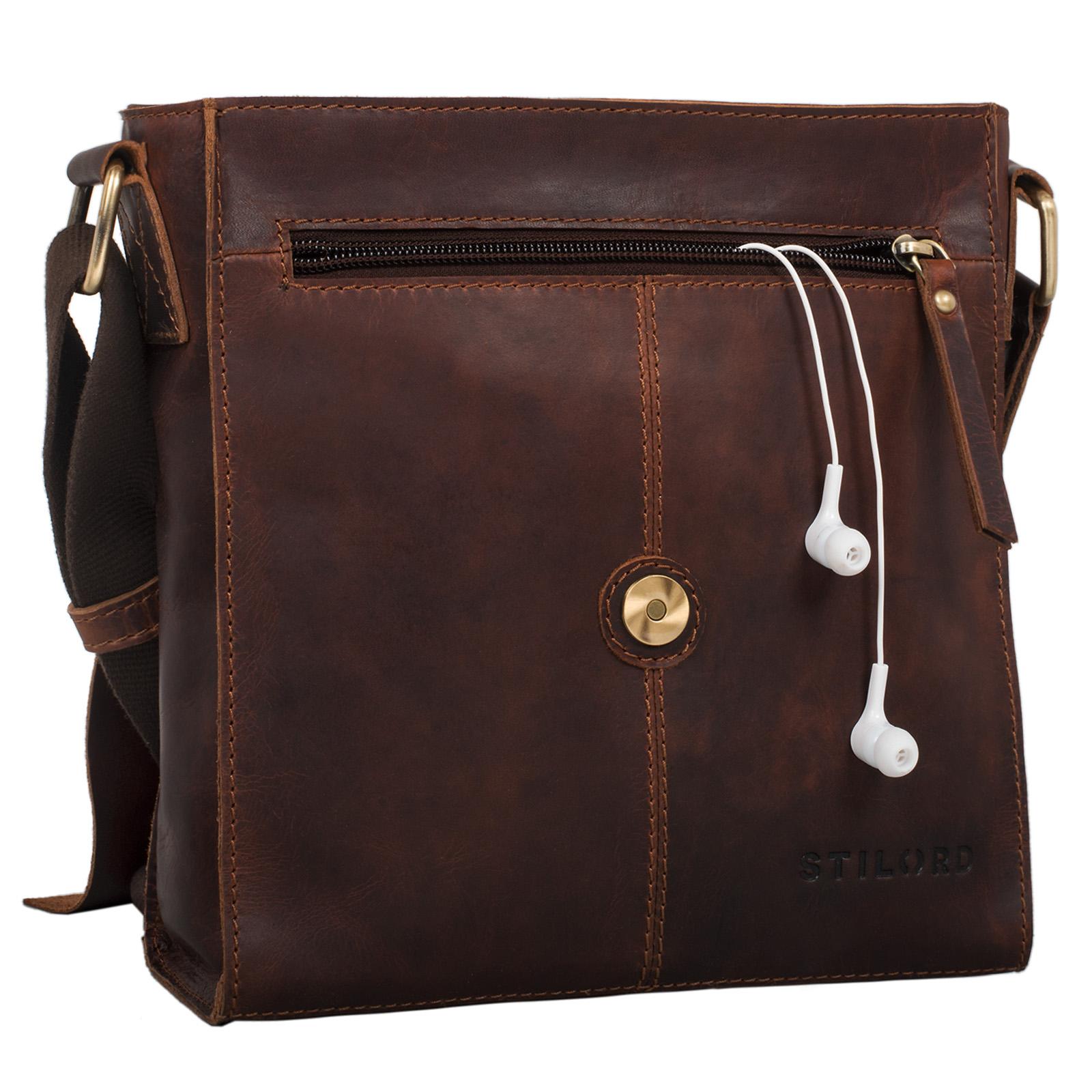 """STILORD """"Malte"""" Kleine Messenger Bag Leder Herren Vintage Schultertasche Umhängetasche für 9.7 Zoll Tablet iPad Handtasche A5 echtes Rindsleder - Bild 5"""