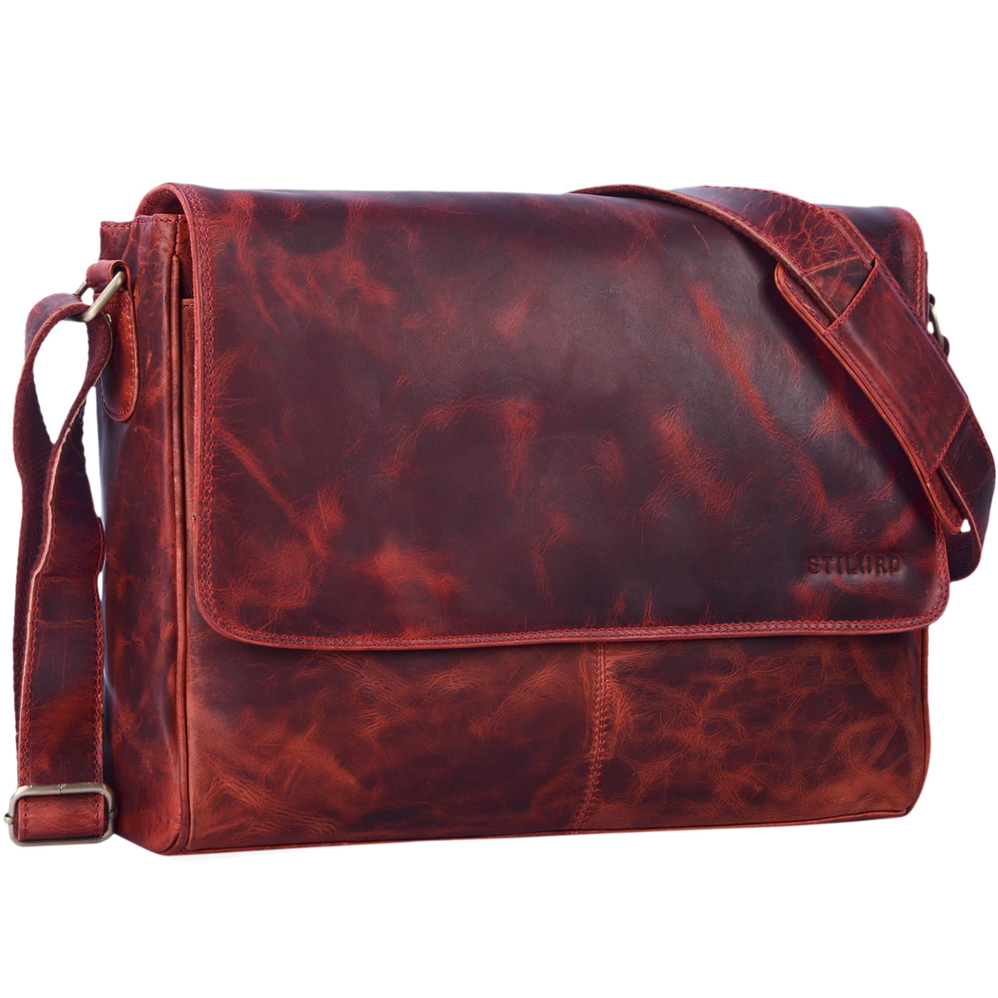 "STILORD ""Oskar"" Umhängetasche aus echtem Rinds-Leder Unisex Messenger Bag Business Unitasche Bürotasche Leder  - Bild 22"