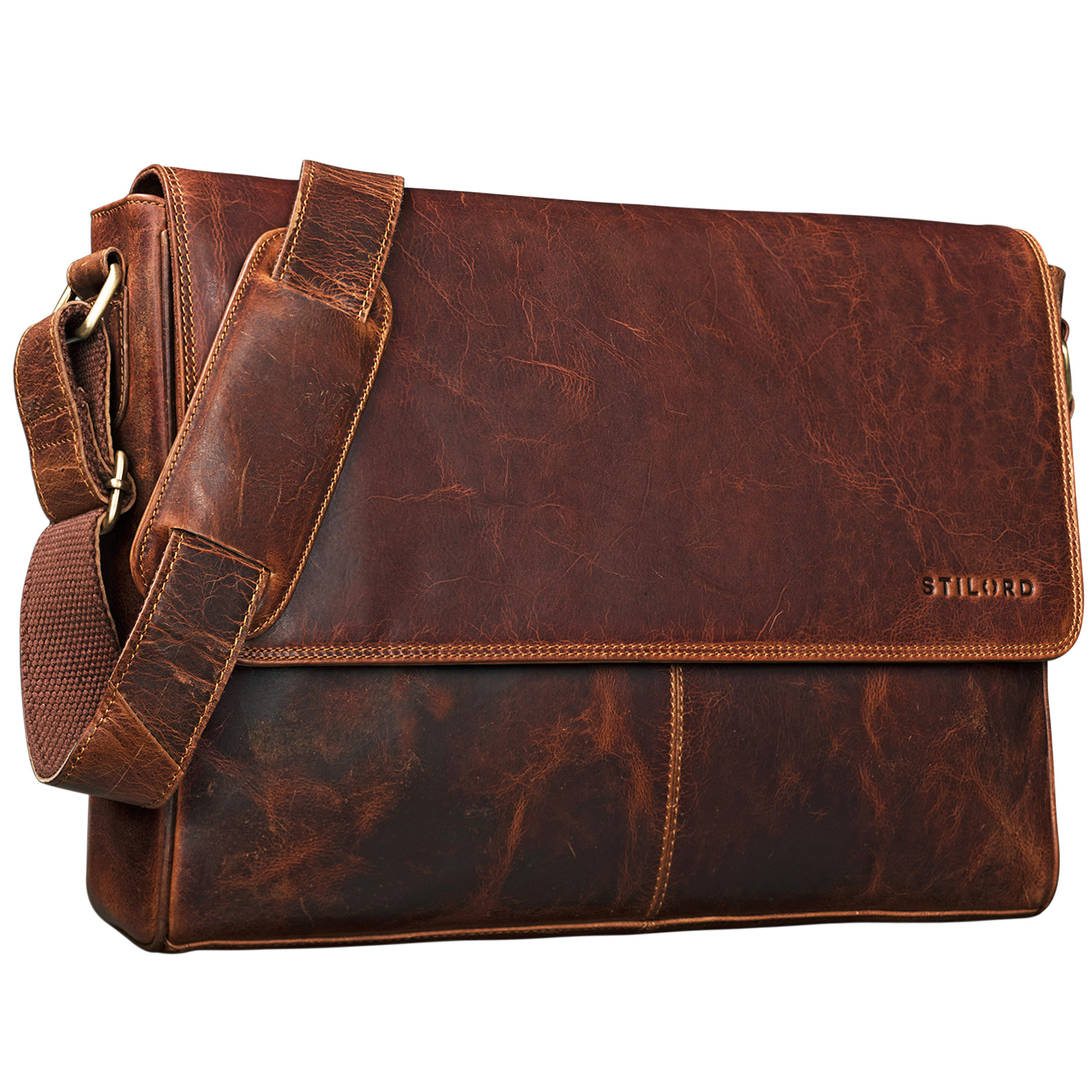 "STILORD ""Oskar"" Umhängetasche aus echtem Rinds-Leder Unisex Messenger Bag Business Unitasche Bürotasche Leder  - Bild 8"