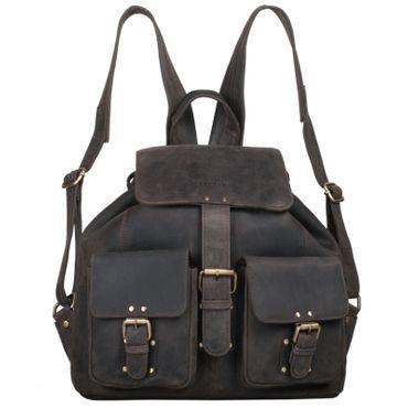 "STILORD ""Larissa"" Vintage Rucksack Leder Damen Rucksackhandtasche Lederrucksack Handtasche DIN A4 City Shopping Daypack Schule Uni Farbe: dunkel - braun"