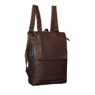 "STILORD ""Simon"" Daypack Rucksack Leder Herren Damen Vintage Rucksackhandtasche groß Lederrucksack für Business Uni Schule A4 13 Zoll MacBook echtes Büffelleder Farbe: cognac - dunkelbraun"
