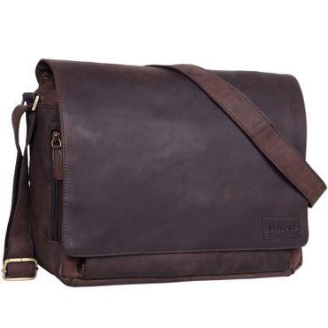 """STILORD """"Rick"""" Schultertasche Leder für 15,6 Zoll Laptop Umhängetasche Aktentasche Bürotasche Unitasche Büffel-Leder  Farbe: matt - dunkelbraun"""