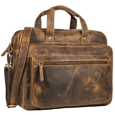"""STILORD """"Walt"""" Vintage Aktentasche Leder Herren Damen Lehrertasche XL groß Büro Business Umhängetasche für 15,6 Zoll Laptop Echt Leder"""