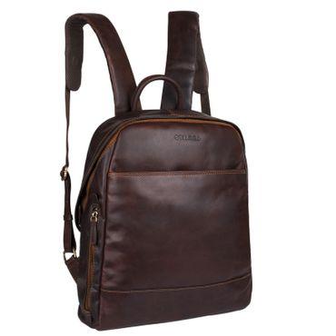 """STILORD """"Marco"""" Uni Rucksack Leder Vintage Daypack groß für Herren Damen DIN A4 mit Laptop-Fach 13,3 Zoll ideal für Schule Business Freizeit echtes Rindsleder Farbe: cognac - dunkelbraun"""