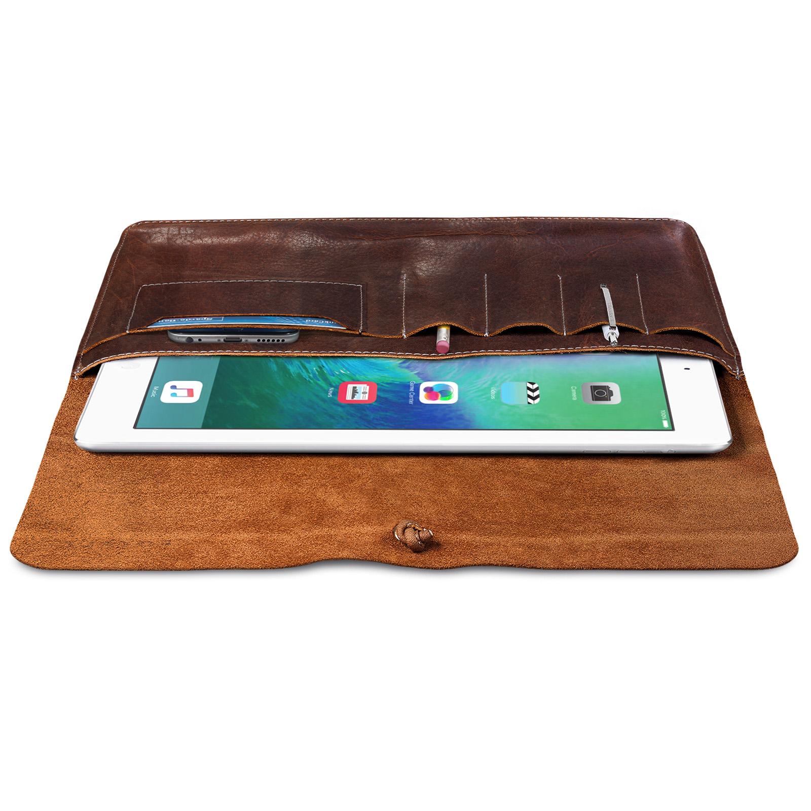 Tablettasche Leder Vintage Design braun 10.1 Zoll