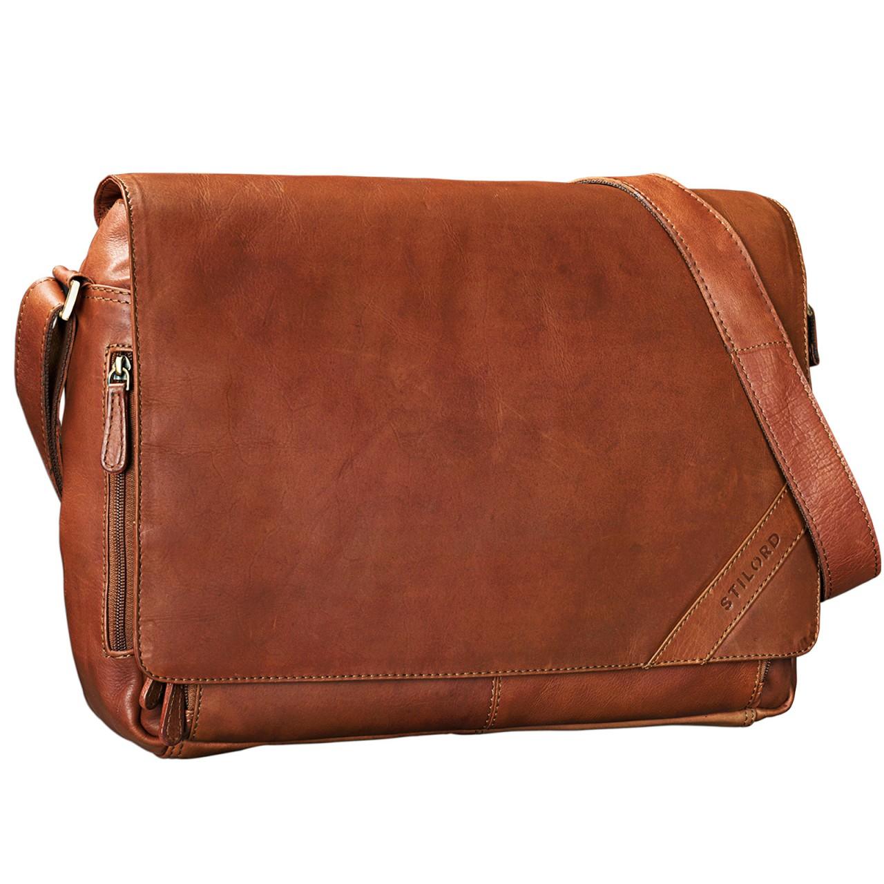 """STILORD """"Nick"""" Umhängetasche Leder Herren Damen Unitasche 15.6 Zoll Laptoptasche Aktentasche Bürotasche Vintage Büffel-Leder - Bild 8"""