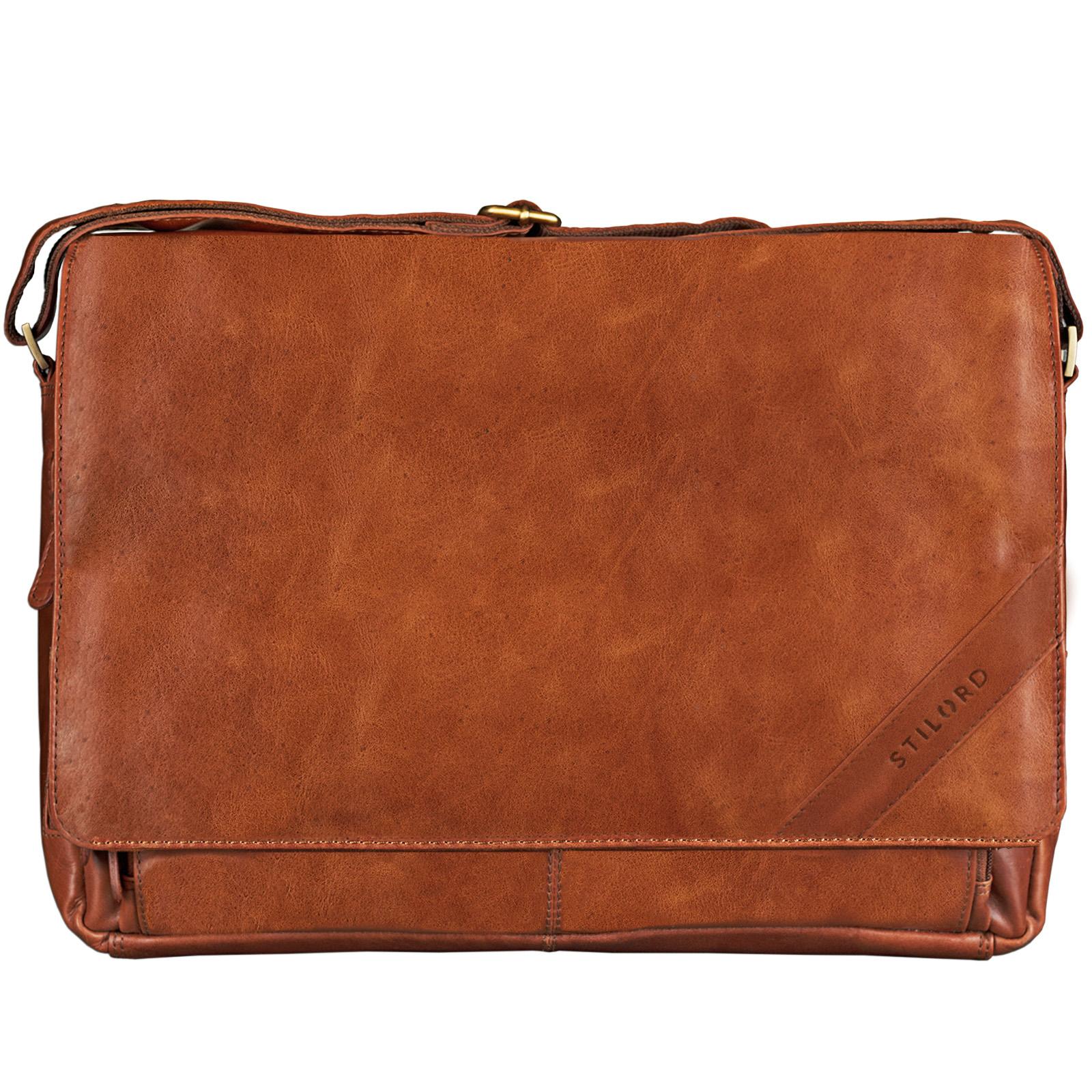 """STILORD """"Nick"""" Umhängetasche Leder Herren Damen Unitasche 15.6 Zoll Laptoptasche Aktentasche Bürotasche Vintage Büffel-Leder - Bild 3"""