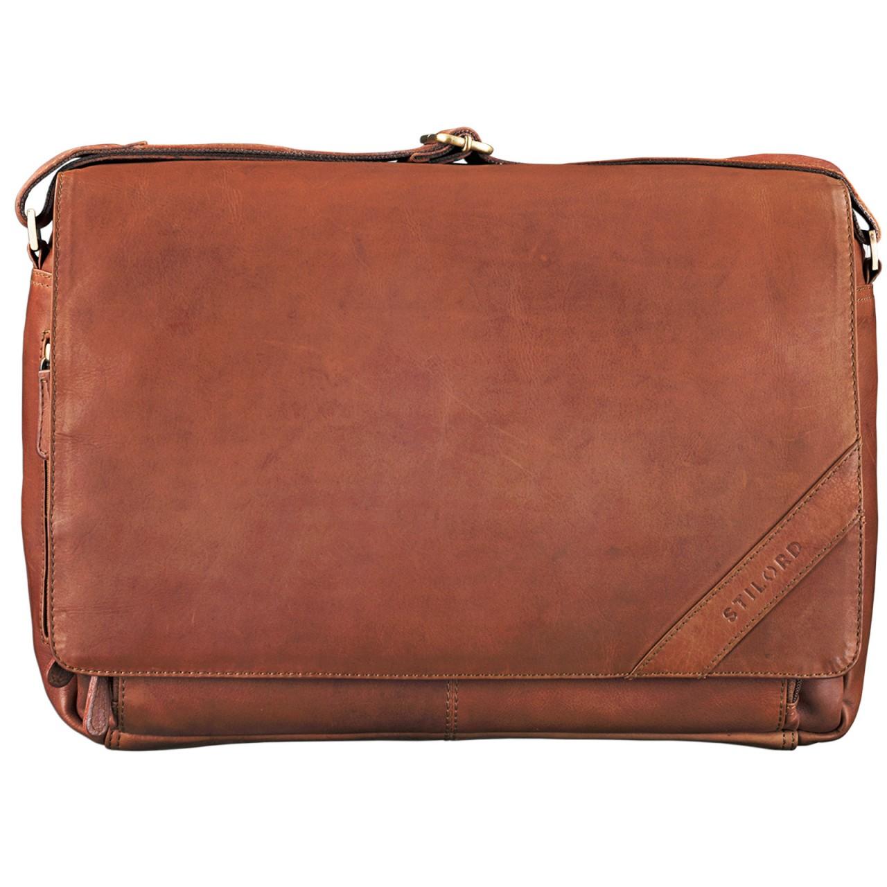 """STILORD """"Nick"""" Umhängetasche Leder Herren Damen Unitasche 15.6 Zoll Laptoptasche Aktentasche Bürotasche Vintage Büffel-Leder - Bild 9"""