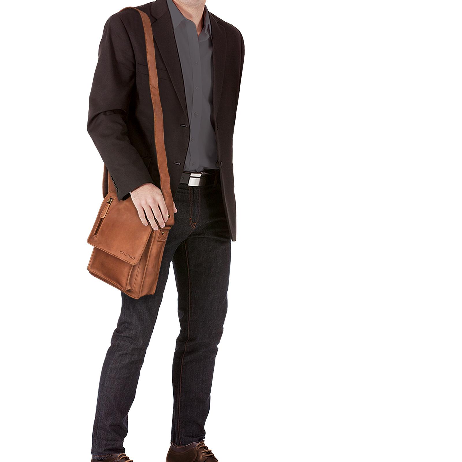 """STILORD """"Finn"""" kleine Umhängetasche Herren Schultertasche Vintage Messenger Bag 8,4 Zoll Tablettasche echtes Büffel-Leder  - Bild 2"""