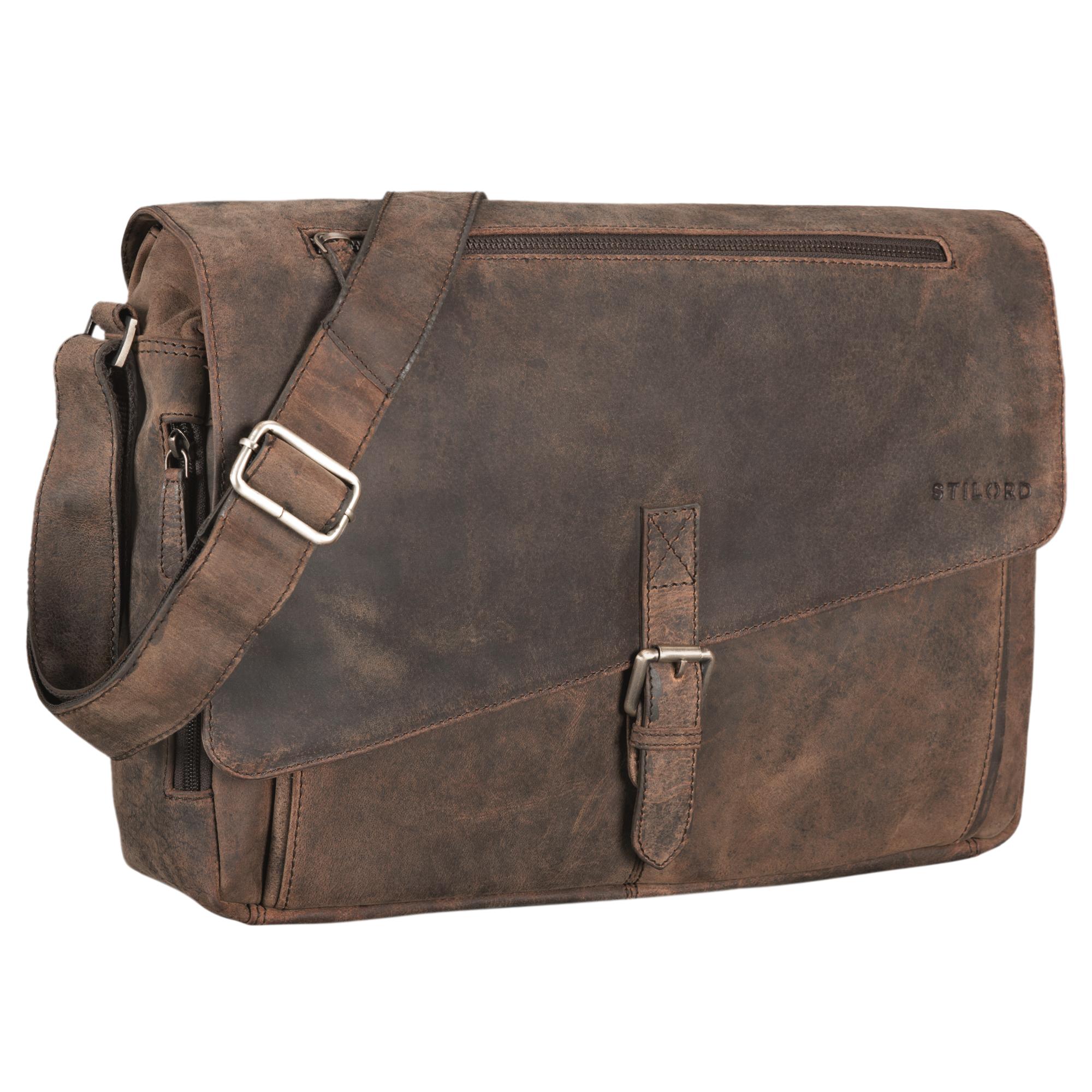 """STILORD """"Merlin"""" Vintage Leder Umhängetasche Damen Herren klassische Aktentasche für Arbeit Büro große Unitasche mit 15.6 Zoll Laptopfach echtes Leder - Bild 10"""