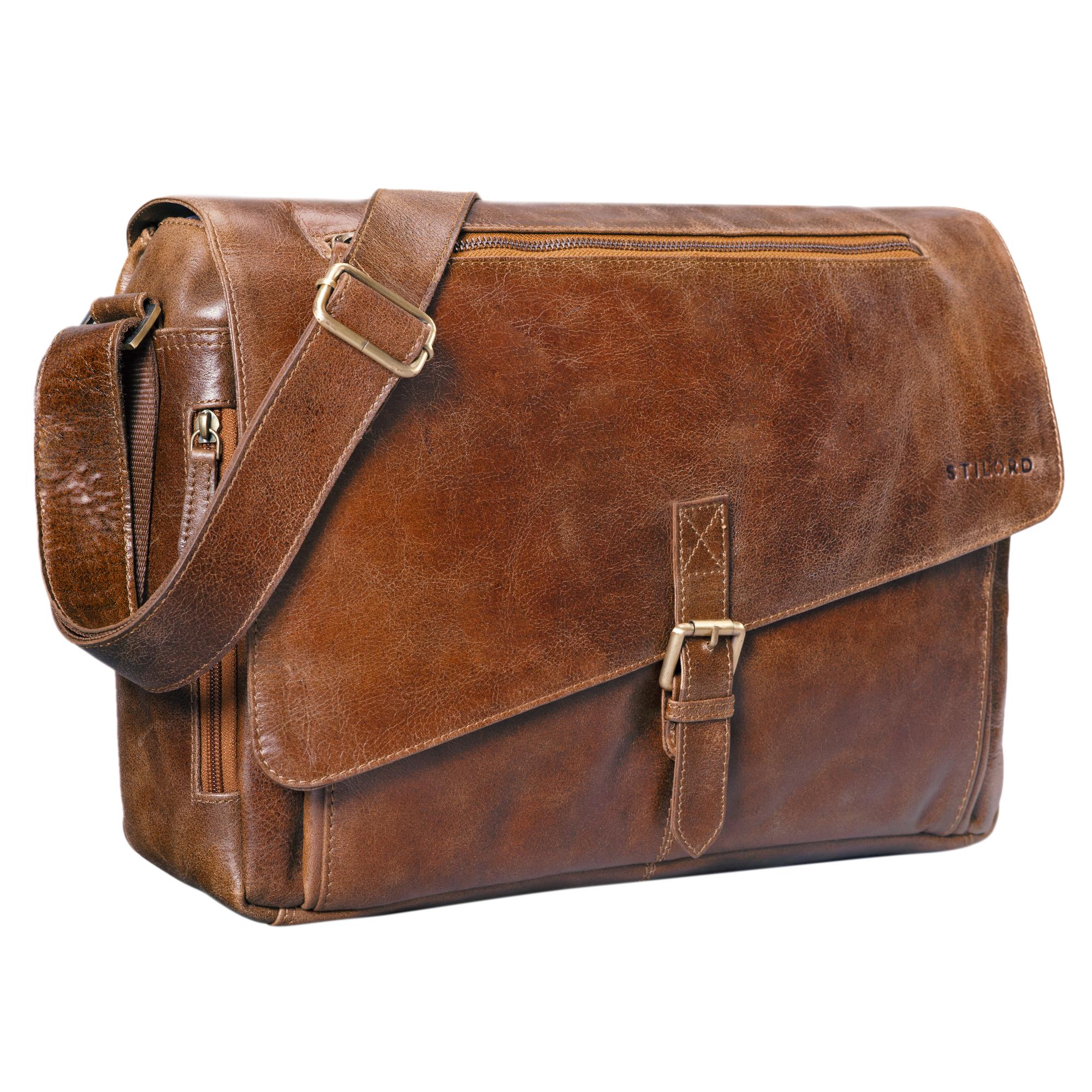 """STILORD """"Merlin"""" Vintage Leder Umhängetasche Damen Herren klassische Aktentasche für Arbeit Büro große Unitasche mit 15.6 Zoll Laptopfach echtes Leder - Bild 12"""