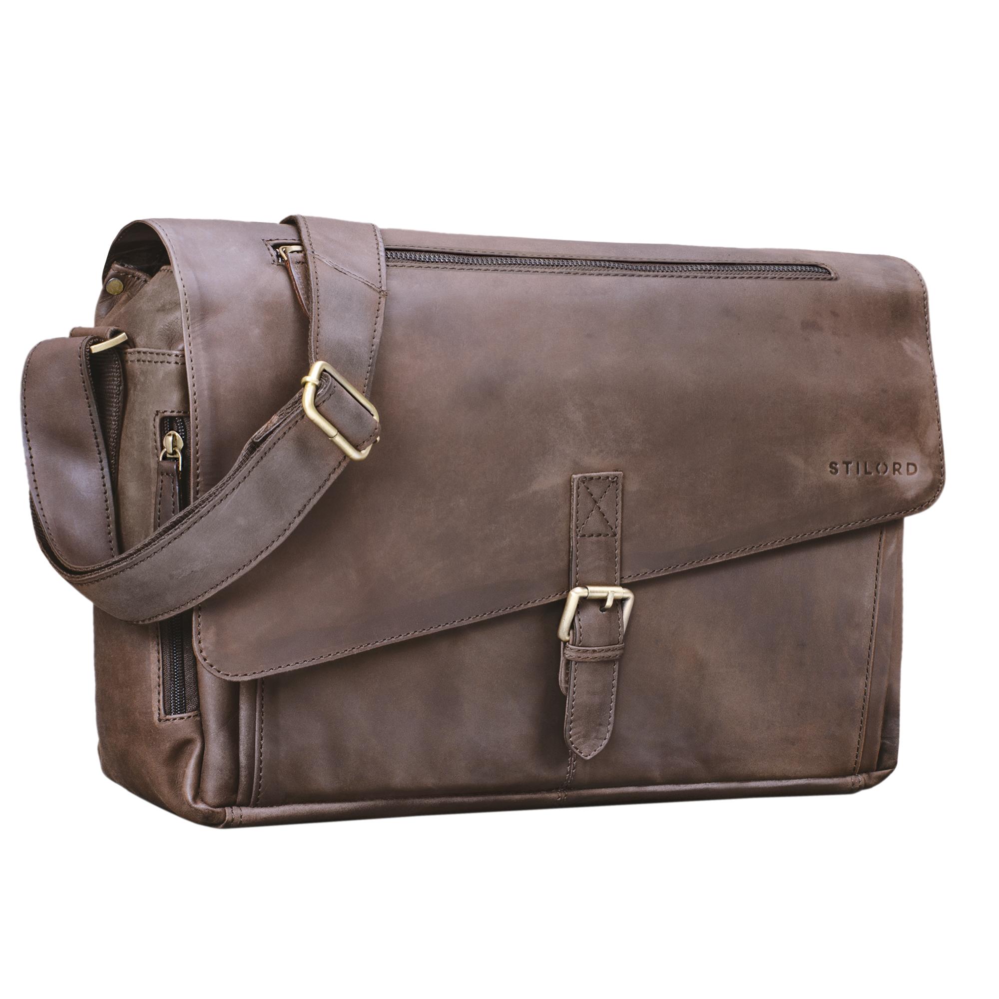 """STILORD """"Merlin"""" Vintage Leder Umhängetasche Damen Herren klassische Aktentasche für Arbeit Büro große Unitasche mit 15.6 Zoll Laptopfach echtes Leder - Bild 11"""