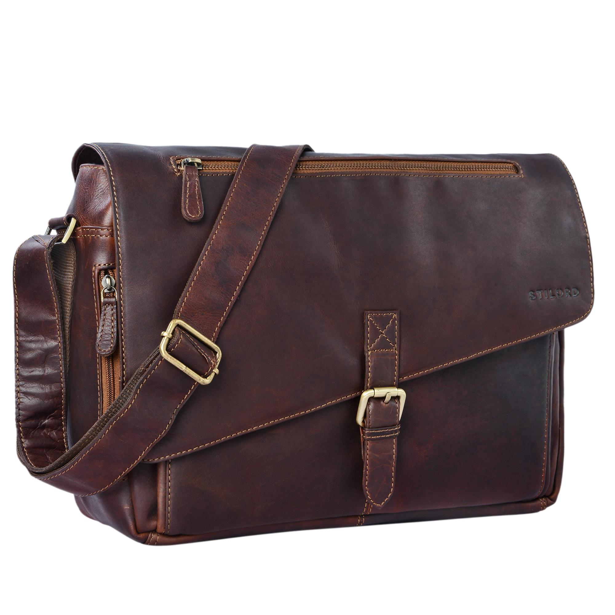 """STILORD """"Merlin"""" Vintage Leder Umhängetasche Damen Herren klassische Aktentasche für Arbeit Büro große Unitasche mit 15.6 Zoll Laptopfach echtes Leder - Bild 9"""