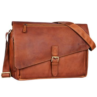 """STILORD """"Merlin"""" Vintage Leder Umhängetasche Damen Herren klassische Aktentasche für Arbeit Büro große Unitasche mit 15.6 Zoll Laptopfach echtes Leder"""