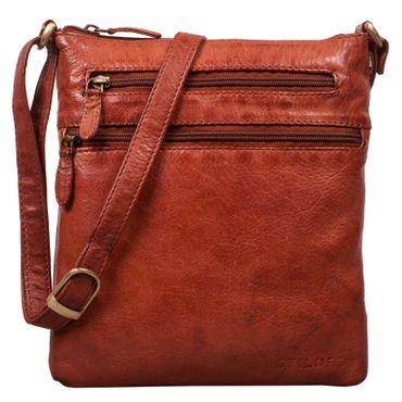 """STILORD """"Juna"""" Damen Umhängetasche Leder braun Handtasche kleine Schultertasche Vintage Damentasche Ausgehtasche für Freizeit Party 9,7 Zoll Tablet iPad Echtleder"""
