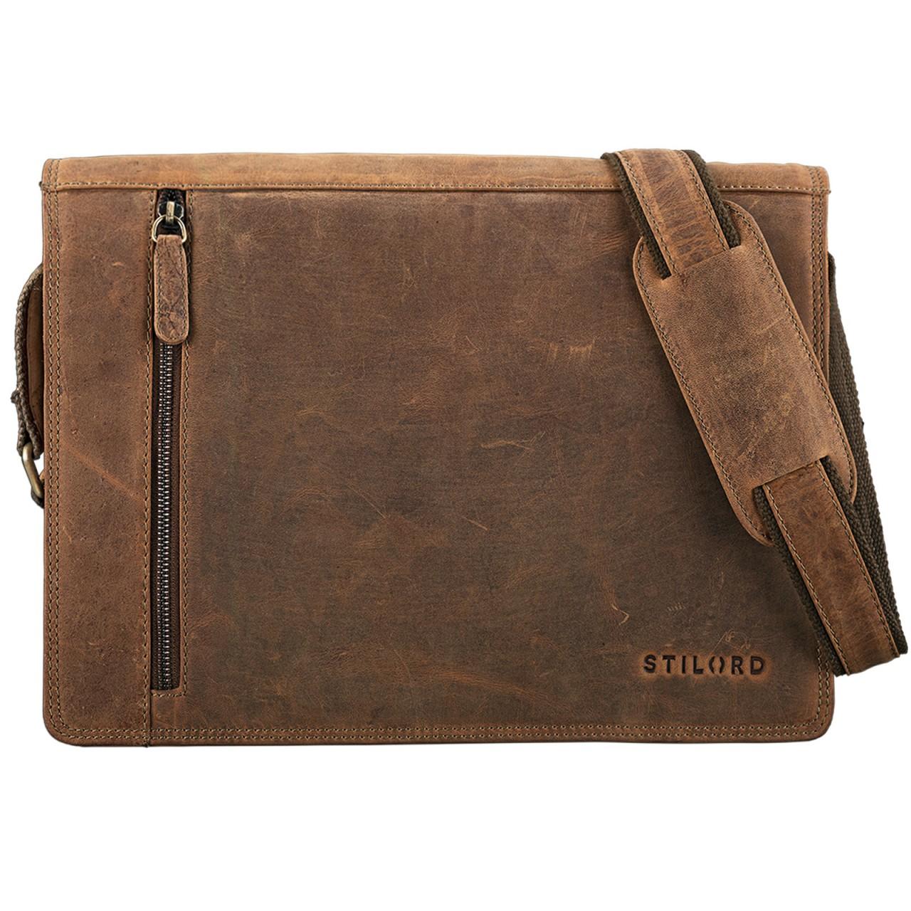 """STILORD """"Noah"""" Vintage Umhängetasche Leder 13,3 Zoll Laptoptasche Studium Uni Büro Arbeit Unisex für MacBook echtes Rindsleder - Bild 17"""