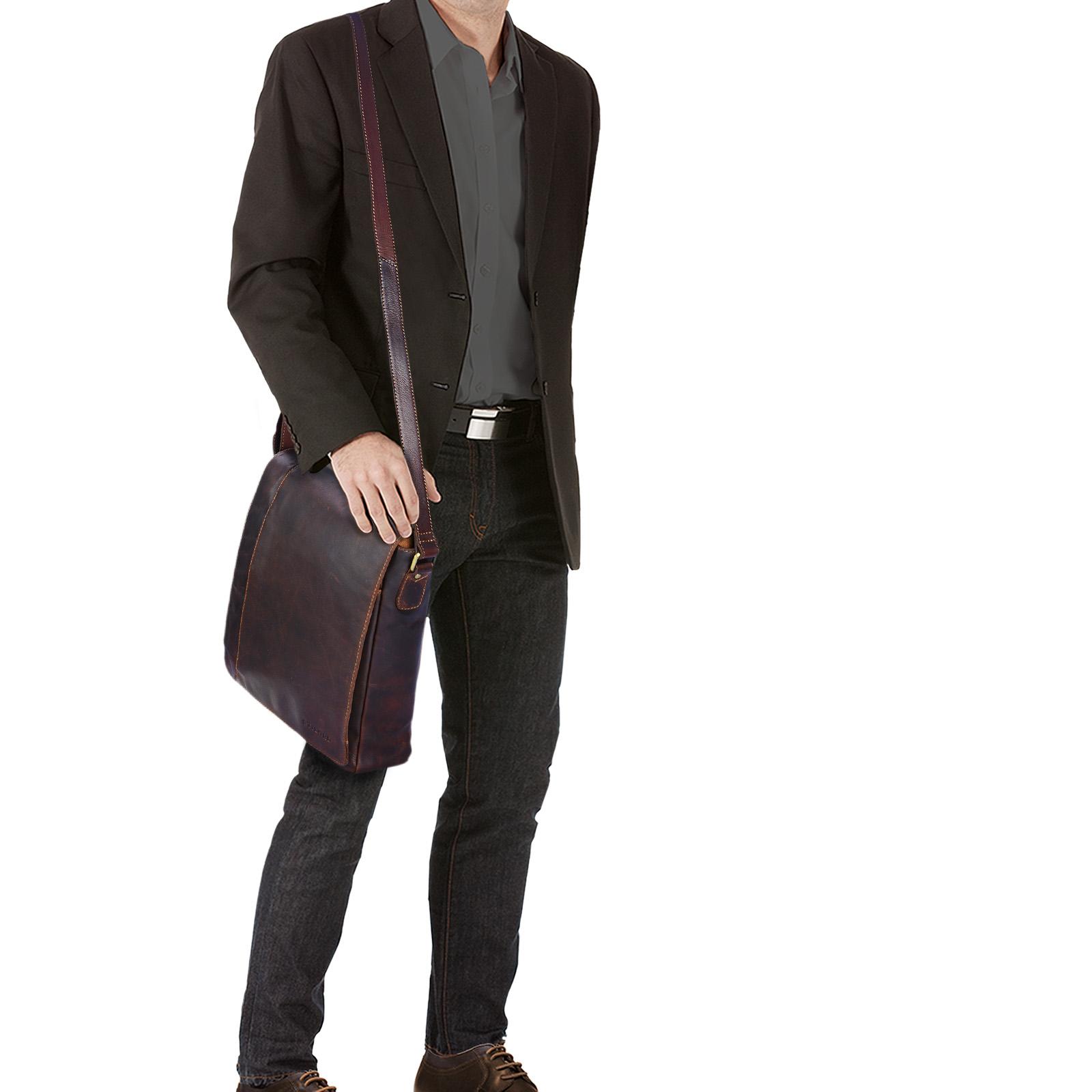 stilord paul umh ngetasche herren leder hochformat braune messenger bag im vintage design. Black Bedroom Furniture Sets. Home Design Ideas