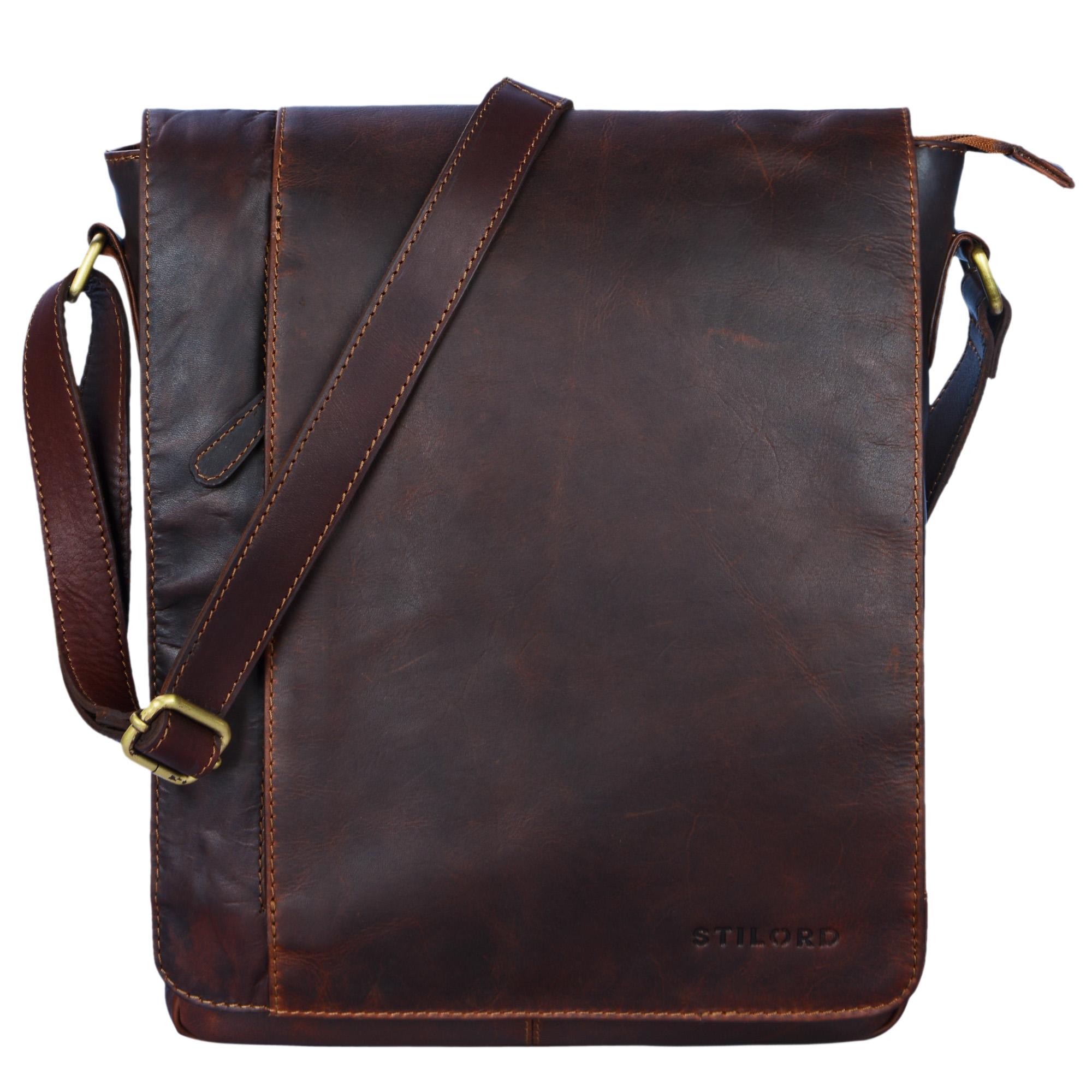 """STILORD """"Paul"""" Umhängetasche Herren Leder Hochformat braune Messenger Bag im Vintage Design Ledertasche für 13,3 Zoll MacBook iPad DIN A4 Herrentasche Echtleder - Bild 17"""