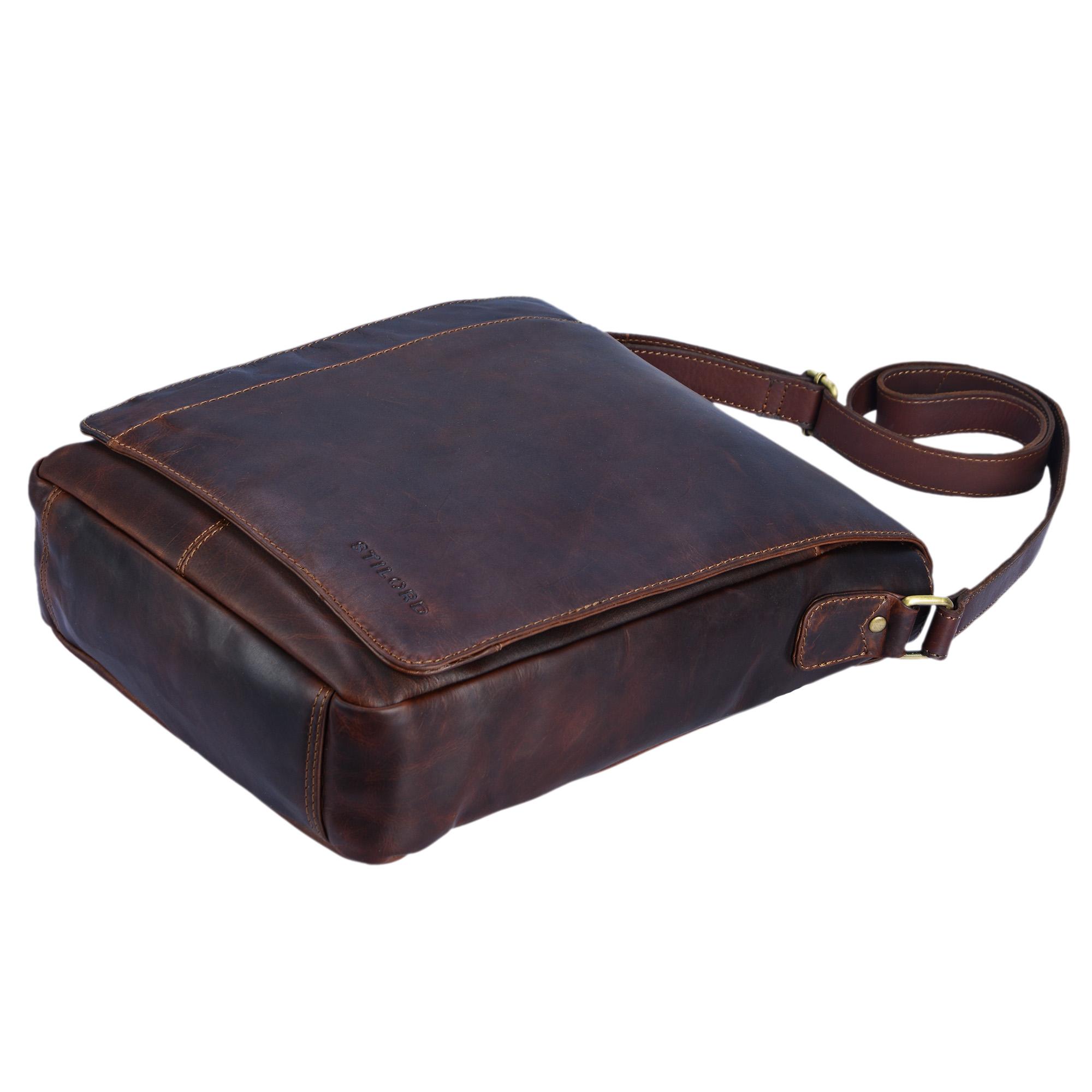"""STILORD """"Paul"""" Umhängetasche Herren Leder Hochformat braune Messenger Bag im Vintage Design Ledertasche für 13,3 Zoll MacBook iPad DIN A4 Herrentasche Echtleder - Bild 21"""